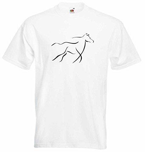 T-Shirt D222 T-Shirt Herren schwarz mit farbigem Brustaufdruck - Tribal galoppierendes Rennpferd Mehrfarbig