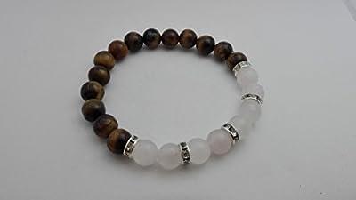 bracelet gemmes de protection, quartz rose, oeil de tigre et strass fantaisie, cadeau femme, lithothérapie