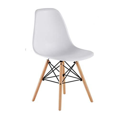 KunstDesign Ensemble de 4 chaises de Salle à Manger, Design Ergonomique, Pieds en Bois de hêtre Naturel, Look Moderne du Milieu du siècle (Gris)