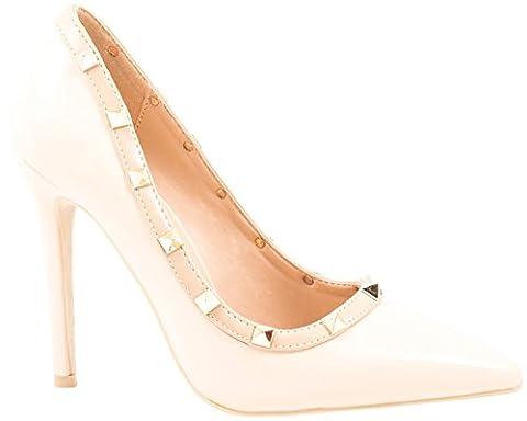 Elara Spitze Damen Pumps   Bequeme Lack Stilettos   Elegante High Heels Beige 36 (High Heels Pumps)