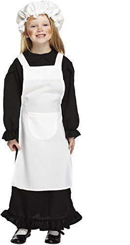 Fancy Me Mädchen Schwarz Weiß Arme Viktorianisch Dienstmagd Kostüm Kleid Outfit 4-12 Jahre - Schwarz, 7-9 Years
