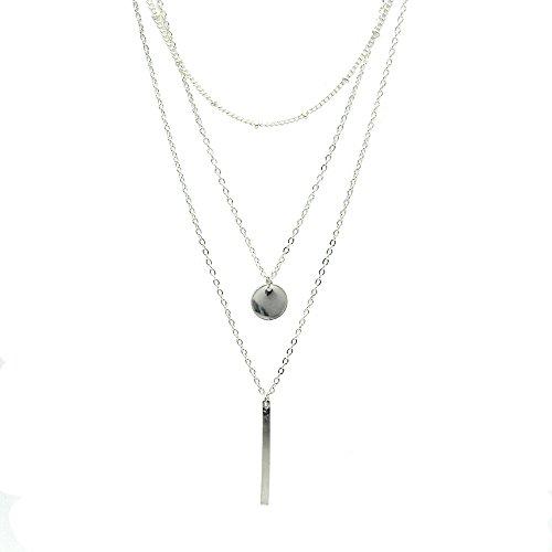Produktbild Zodiac Halskette Damen Modeschmuck, Halskette Choker Mehrreihig Kette mit Anhänger, Geburtstag Geschenk für Frauen Mädchen Mutter Freundin, Silber