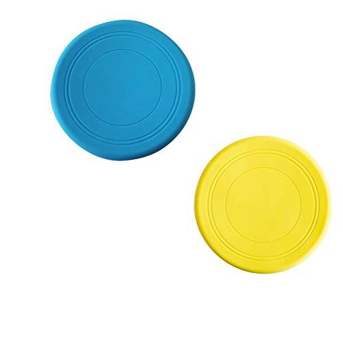 EQLEF® Frisbee Flying Disc Nicht Rutsch Soft Silikon Spielzeug Eltern-Kind Happy Time Outdoor Sport 2 Stück 19 cm im DurchmesserBlaues Gelb(0.15, 19cm)