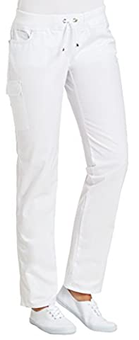 clinicfashion Stretch Hose Damen weiß, elastisches Rippstrickbündchen mit Kordeltunnelzug, Mischgewebe, Größe 42
