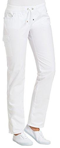 clinicfashion 10627040 Stretch Hose Damen weiß, elastisches Rippstrickbündchen mit Kordeltunnelzug, Mischgewebe, Größe 34