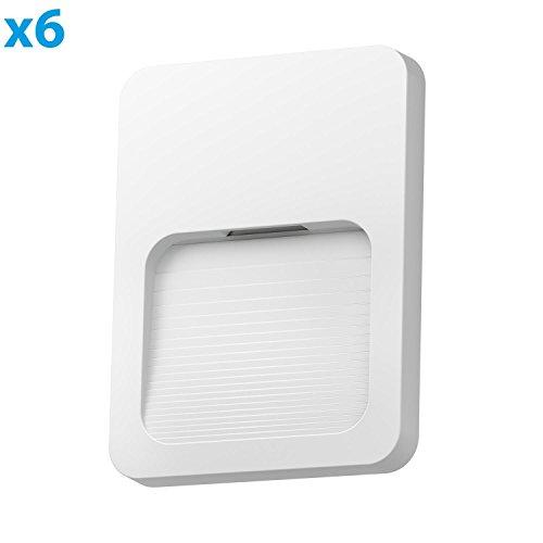 ledscom.de LED Treppen-Licht Wandleuchte Stufo, eckig, 12x9cm, 230V, warm-weiß, 6 Stk. -