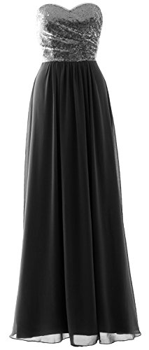 MACloth Elegant Strapless Long Bridesmaid Dress Sequin Chiffon Party Formal Gown Gray-Black