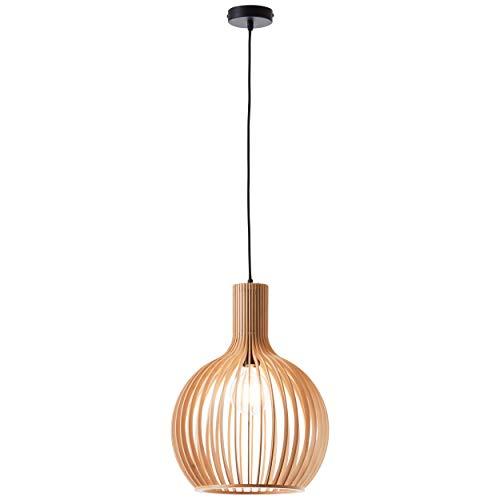 Dekorative Pendelleuchte, 1x E27 max. 60 Watt aus Holz in hell braun/schwarz