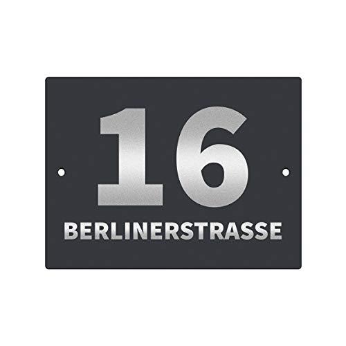 Hausnummernschild Hausnummer • Edelstahl RAL 7016 Anthrazit pulverbeschichtet • mit Wunschnummer + Straßenname • Design 12 (1mm)
