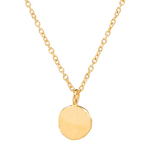Charlotte Wooning Damen Kette Ancient Flat Ball Gold Anhänger Mini Plättchen Gehämmert Silber Vergoldet NAFBg