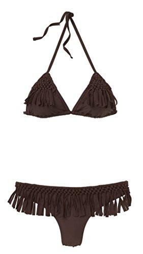 Braun Mit Fransen (Beco Damen Triangelbikini mit Fransen Summer of Love Bikini, Braun, 40)