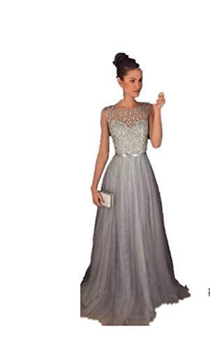 Gwei】 donna eleganti sexy senza spalline vestito a tunica maxi abiti da cerimonia sera partito festa matrimonio pizzo abito in chiffon lunghi vestito formale banchetto sera (m, b- grigio)