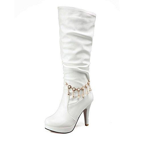 AllhqFashion Damen Rund Zehe Hoher Absatz Blend-Materialien Knie Hohe Rein Stiefel Weiß
