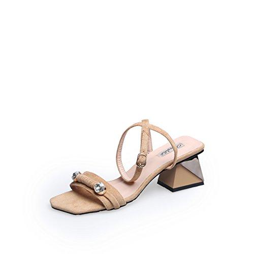 Wildleder hohle diamantschnalle high heels/Quadratischer kopf mit sandalen B