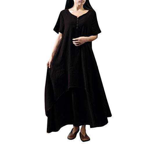 ESAILQ Damen Tägliches Plus Size Splice Lace langes Kleid(XXXXL,Schwarz)