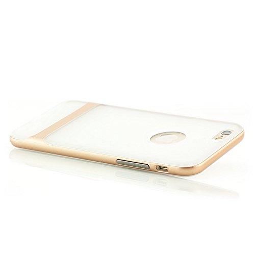 Saxonia iPhone 6 6S Hülle + Panzerglas Silikon Case Cover TPU Slim Silikonhülle Backcover Handyhülle Schale + Rahmen Schutzhülle Transparent-Gold Transparent-Gold