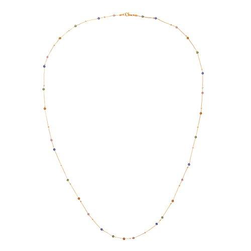 Front Row collar mujer color de oro con perlas multicolores de cristal - longitud 46-48cm
