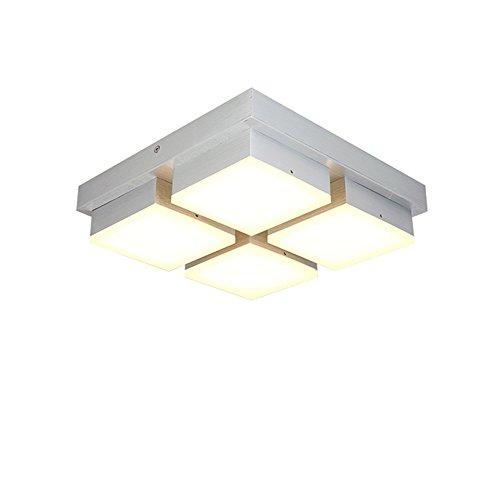 Energie Sparen 4 Licht (48W LED Deckenleuchte Warmweiß 4-flammig Acryl Deckenlampe Flur Wohnzimmer Lampe Schlafzimmer Küche Energie Sparen Licht Wandleuchte Silber Aluminium (48W Warmweiß))