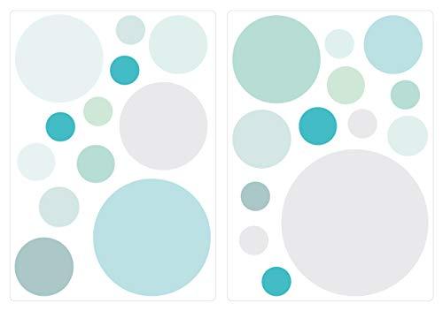 dekodino® Wandtattoo Pastell Punkte in Blau und Grün 25 Stück Wandsticker Set -