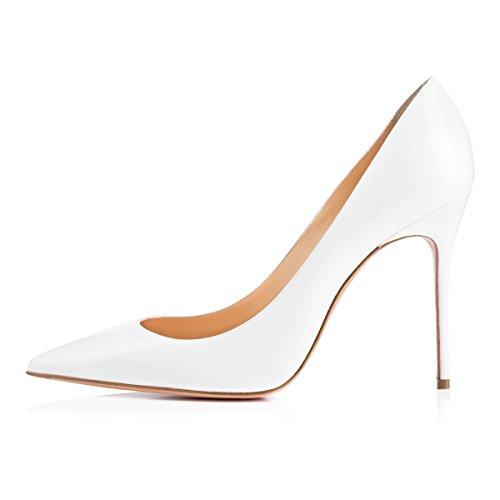 da EDEFS Donna Scarpe con Donna 10CM Bianco Eleganti Scarpe Estate Tacco ZqxfOqw