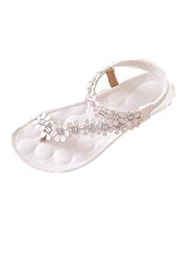 vovotrade 2016 Las mujeres del verano de Bohemia de la flor de los granos de las sandalias planas (EU tamaño 39, Blanco)