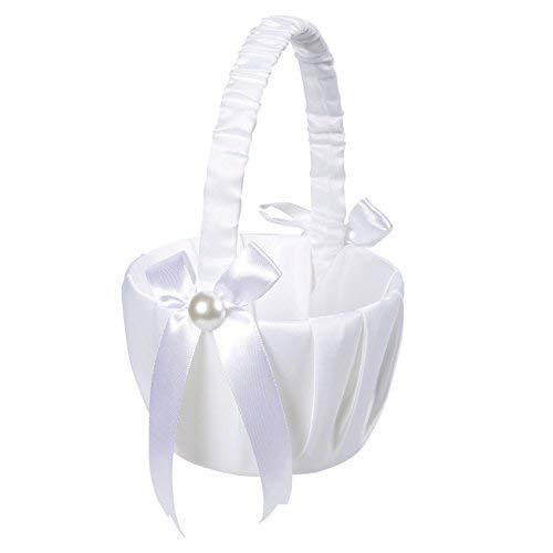 Juvale Blumenkorb für Hochzeiten, Hochzeitsprozessionen, niedliche Satinhalter, Rosenblätter, Empfangsdekoration 8,7 x 5,2 x 4,2 Zoll Weiß (Griff Elfenbein Faux)