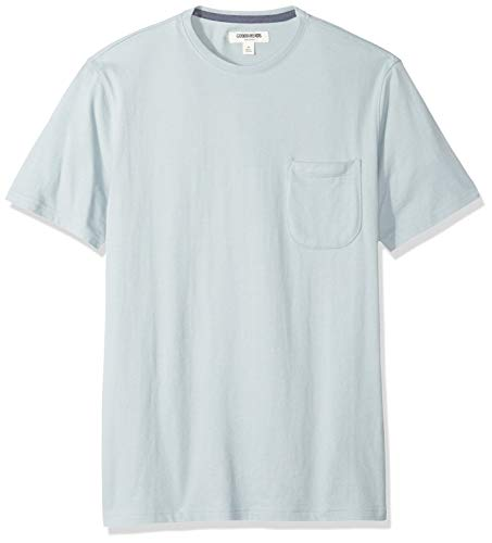 Goodthreads Short-Sleeve Sueded Jersey Crewneck Pocket fashion-t-shirts, Light Aqua, US XXL (EU XXXL-4XL) -