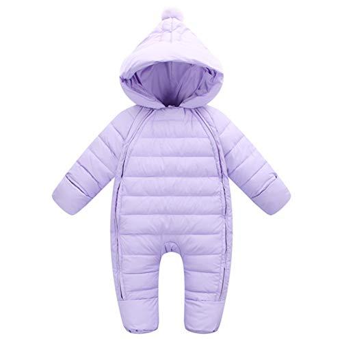 G-Kids Baby Schneeanzüge Daunenanzug Winter Overall Strampler mit Kapuze Mädchen Jungen Winterjacke Jumpsuit Lila 70