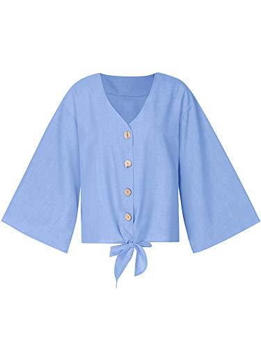 Romacci Damen Bluse V-Ausschnitt-Knopf ließ Schultern-Front gebundene Knoten-Lange Hülsen-beiläufige lose Oberseiten Fallen - Solid-knopf-front-shirt