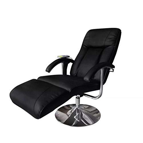 Nishore Massagestuhl mit Heizfunktion, Shiatsu-Massagestuhl, Massagestuhl, elektrischer Massagestuhl verstellbar Leder schwarz für Kopf- und Nackenmassage 137 x 68 x 104 cm (LxBxH)
