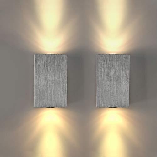 euchte LED Wandlampe Innen Modern Up and Down Wand Beleuchtung Silber aus Aluminium für Treppenhaus Flur Theater Studio Halle Korridor Nacht Schlafzimmer, Warmweiß ()