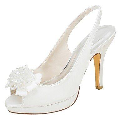 Wuyulunbi@ Scarpe donna raso elasticizzato estate della pompa base scarpe matrimonio Stiletto Heel Peep toe perla per Party & abito da sera Un
