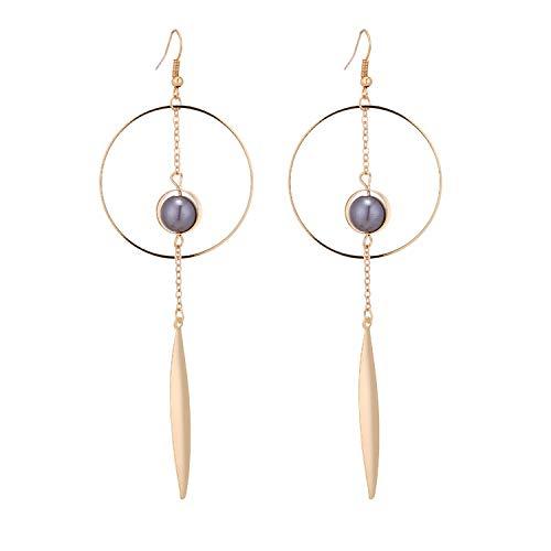 Runde große Kreise Imitat Perle Golden Farbe Tropfenohrringe für Frauen einfache Frauen -