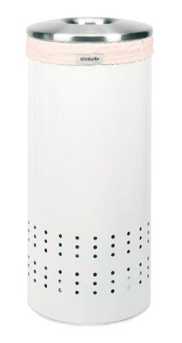 Brabantia 385681 Wäschebox 30 Liter Matt Steel-Deckel, weiss Brabantia 30 L Matt