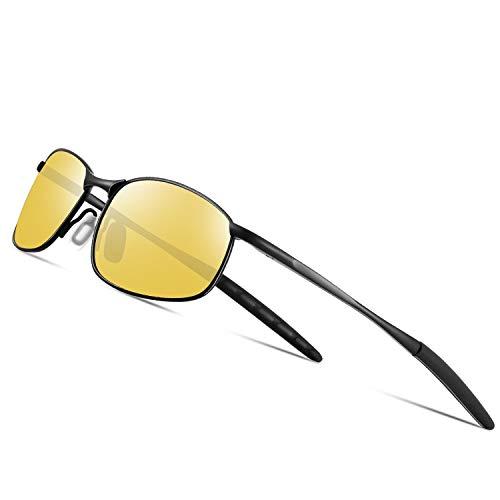 FEIDU Nachtsichtbrille Autofahren Anti-Glanz Fahrerbrille Kontrastbrille Sonnenbrille Rechteckige Metall Rahmen Herren und Damen HD Nachtfahrbrille Polarisiert Gewidmet Nachtbrille