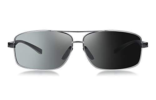 WHCREAT Herren Photochrome Polarisierte Sonnenbrille Al-Mg-Metallgestell mit Federscharnieren für Sport Autofahren - Metallic Grau Rahmen