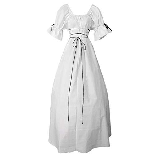 Zegeey Damen Kleid Vintage Petal Sleeve Rundhals Mittelalterlichen Cosplay Partykleider Cocktailkleider Maxikleider(Weiß,EU-42/CN-2XL)