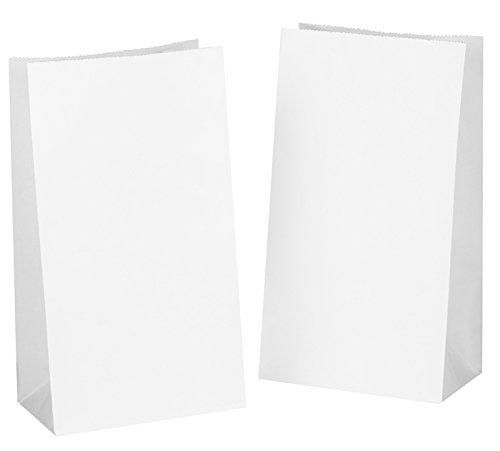 Kgpack 50 bianco sacchetti di carta con fondo 14 x 8 x 26 cm, 70 g./m2 bianco bustine sacchetti con fondo carta per sacchetti regalo, calendario dell' avvento, regali pugilato