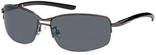 Feinzwirn zeitlos elegante Sonnenbrille Foix mit Flexbügeln + Brillenbeutel- Sonnenbrille Herren (Anthrazit)