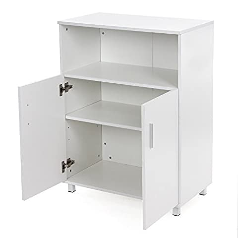 Songmics Office Cupboard Adjustable Filing Cabinet Wooden Storage Cabinet Bookcase with 2 Doors 70 x 40 x 93 cm White LCD29W