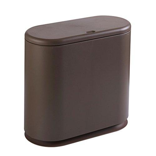 LyJ+evanism Abfalleimer für den Hausmüll Presseart Mülleimer, Haushalt Wohnzimmer Schlafzimmer WC Pedal Mülleimer, Badezimmer mit Deckel Papierkorb (Farbe : Dunkelbraun)