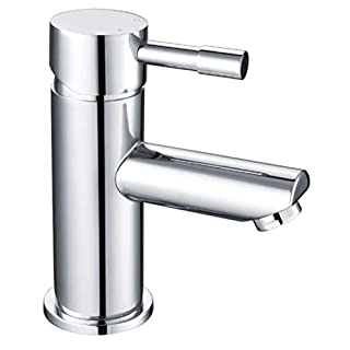 Incor | Bathroom Sink Monobloc Mixer Tap. Round Classic Chrome Cloakroom Basin Faucet. Set Includes Sprung Waste