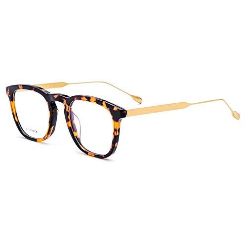 Shengjuanfeng-brillen Ultraleichtes quadratisches Business-Brillengestell für Männer. Accessoires (Farbe : Leopard/Gold)