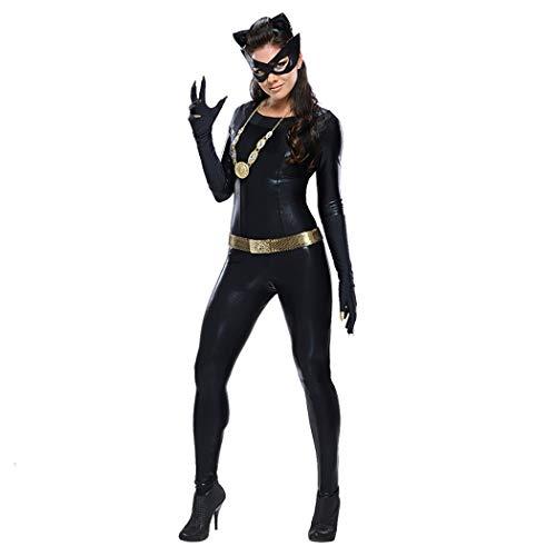 Halloween Sexy Wild Cat Women Es One-Piece Patent Leder Pelz Cat Girl Black Party ()