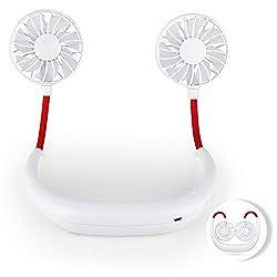 Hianjoo Tragbare Ventilator Wiederaufladbare lüfter für Outdoor, USB Handsfree Ventilatoren für Ausflüge, Einkaufen, Camping, Picknick, Sport (Weiß)