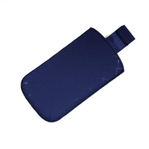 Valenta Etui offen - blau - mit Ausziehlasche und trendigem Karodesign für simvalley MOBILE Easy 5