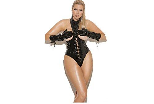 FUNKY LOVER Sexy Dessous Leder oben Verbundener Bodysuit Nackte Oberseite Elastisch Nachthemd Unterwäsche-Set Rollenspiel Dating Frauen , L (Flirt Set Rock)