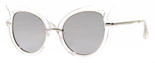 Cheapass Sonnebrille Cat-Eye Transparent Verspiegelt Silber Damen