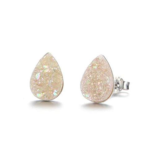 ChuangYing Europäische und amerikanische Cluster Ohrringe S925 Silber Ohrringe Stilvolle Persönlichkeit Flache Kristall Ohr Nadeln Geometrische Ohrringe (Herren-diamant-cluster-ohrringe)