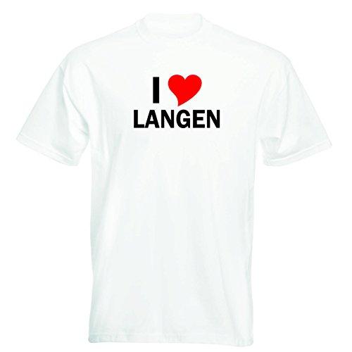 T-Shirt mit Städtenamen - i Love Langen - Herren - unisex Weiß
